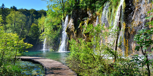 Boardwalk through the waterfalls of Plitvice Lakes National Park