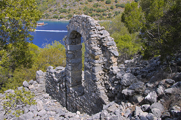 Ancient architecture on St Nicholas island Gemiler island Turkey
