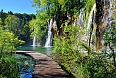 Boardwalk through the waterfalls of Plitvice Lakes